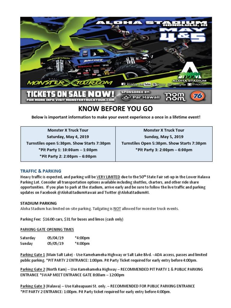 Monster X Tour Info | Honolulu | Parking Lot