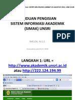 PANDUAN MENGISI SIMAK ONLINE (KRS) UNSRI  2013.pdf