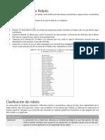 Clasificacion y Caracteristicas de Robots