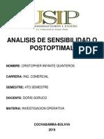 Analisis de Sensibilidad o Postoptimal