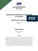 Analysing Teachers Reading Habits and Teaching Strategies for Reading Skills