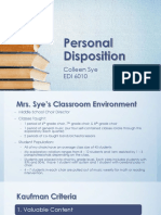 personal disposition - sye