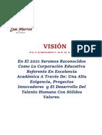 Visión Misión y Valores 2019