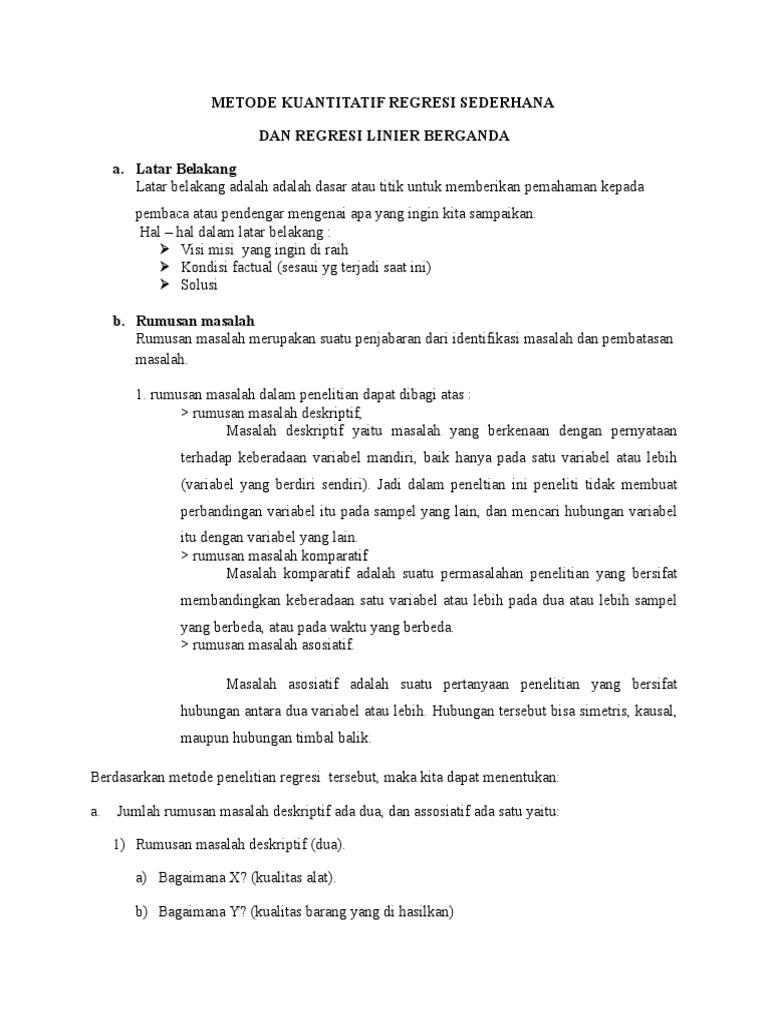 Metode Kuantitatif Regresi Sederhana Dan Regresi Linier Berganda A