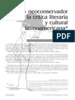 El giro neoconservador en la crítica literaria y cultural latinoamericana
