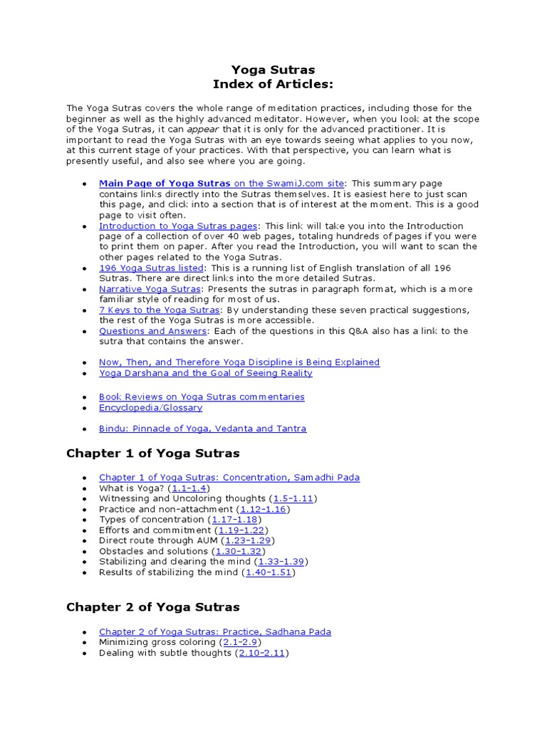 Yoga Sutras Index Of Articles Yoga Yoga Sutras Of Patanjali