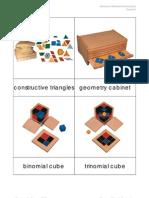 Montessori Materials Nomenclature Sensorial