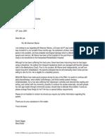 Model Letter of Shannon Warne