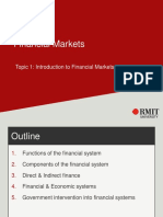 Topic 1 - Introduction to Financial Markets