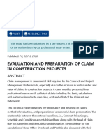EVALUATION AND PREPARATION OF CLAIMS IN CONSTRUCTION CONTRACTS