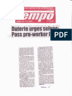 Tempo, May 2, 2019, Duterte urges solons - Pass pro-workers laws.pdf