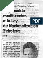 Edgard Romero Nava Inaplazable Ley de Nacionalización - El Nacional 9.11.1985