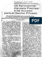 Hay Que Aprovechar Reforma Para Precisar Acceso Para El Sector Privado - El Universal 9.11.1985