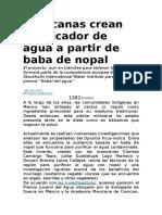 Mexicanas Crean Purificador de Agua a Partir de Baba de Nopal