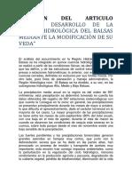"""""""RESUMEN DEL ARTICULO TECNICO DESARROLLO DE LA REGIÓN HIDROLÓGICA DEL BALSAS MEDIANTE LA MODIFICACIÓN DE SU VEDA"""".docx"""