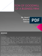 Valuation of Goodwill of a Business Firm