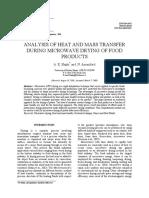 Analisis Las Transferencias de Calor y Masa Durante El Secado de Alimentos Por Microondas