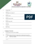 Application for Businss Incubation Center