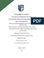 """TESIS """"INFLUENCIA DE LA COMUNICACIÓN INTERNA EN EL CLIMA ORGANIZACIÓN DE LA DIRECCIÓN REGIONAL DE SALUD DE ANCASH – 2019"""""""