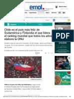 Chile Es El País Más Feliz de Sudamérica y Finlandia El Que Lidera El Ranking Mundial de La ONU _ Emol.com