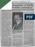 Edgard Romero Nava Disminuir ISLR o Baja Dolar Petrolero - El Diario de Caracas 2.1.1987