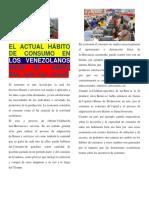 El Actual Hábito de Consumo en Los Venezolanos Hace 20 Años
