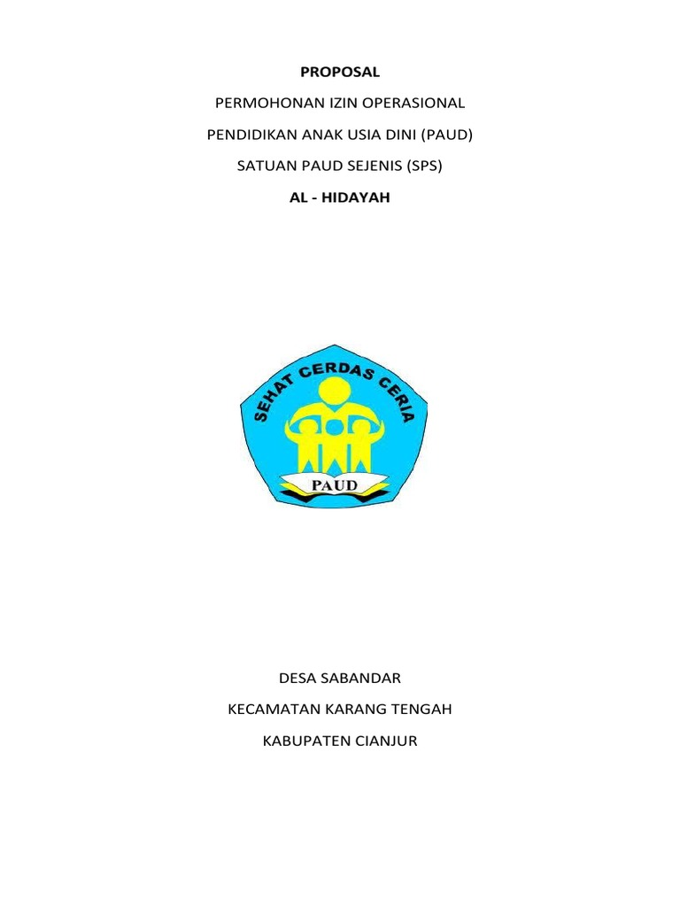 Contoh Proposal Ijin Paud