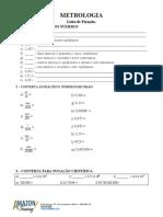 Lista de Exercicíos e Gabarito METROLOGIA