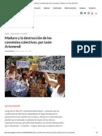 SINDICATOS Maduro y La Destrucción de Los Convenios Colectivos, Por León Arismendi
