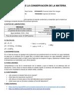 Informe Ley de La Conservacion de La Materia....