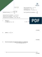 Mock Exam 1st Semester Math Care 2016