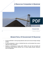 Advising Mineral Resources Companies in Myanmar