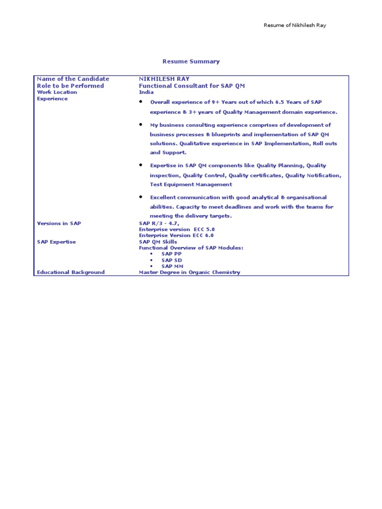 Sap Sd Support Consultant Resume - nmdnconference.com - Example ...