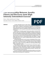 2001 the Relationship Between Aerobic Fitness and Recovery From High Intensity Intermittent Exercise