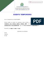 Pequerimento EVENTO TEMPORÁRIO Para Projeto 2016