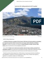 Batalla de Pichincha, Proceso de Independencia de Ecuador