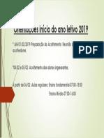 Orientações Início Do Ano Letivo 2019