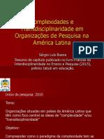Complexidade e Transdisciplinaridade em Organizações de Pesquisa na América Latina