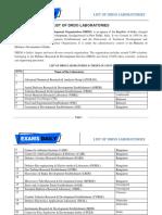 List of Drdo Laboratories