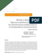 LERA, Carmen, (2017), Mérito y desigualdad. Algunas cuestiones para pensar las intervenciones profesionales en el neoliberalismo contemporáneo