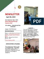 Moraga Rotary Newsletter April 30 2019