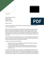 Letter to Mr B O'Farrell 15 June 2011
