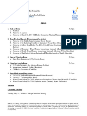 Seattle Public Schools Calendar 2022 23.Seattle Public School Board C I Policy Committee Meeting Packet April 2019 Board Of Directors Curriculum