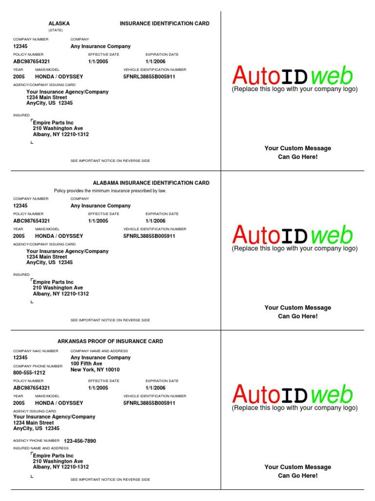 Sample Auto Insurance Card Template | Vehicle Insurance ...