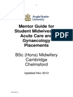 Mentor Guide for Student Midwives on Acute Care and Gynae Placements. Nov 2012