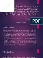 The Effects of Translation Grammar and Communicative Grammar Teaching