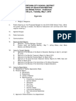 Watertown City School District Board of Education agenda May 7, 2019