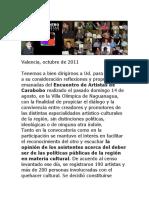 Documento Del Encuentro de Artistas de Carabobo 2011