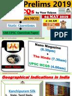 4 May 2019 MCQ for UPSC by Vishal Choudhary