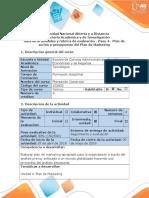 Guía de actividades y rúbrica de evaluación - Paso 4 - Plan de acción y presupuesto del Plan de Marketing